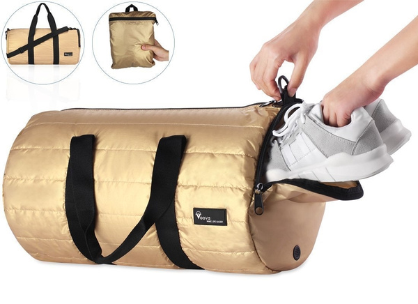 Voova Sports Gym Bag with Shoes Compartment 20L Foldable Travel Duffel Totes Bag for Men and Women