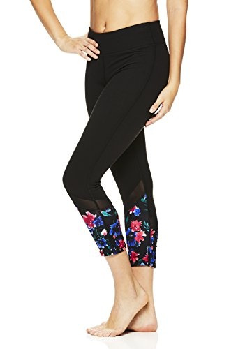 1b5db2efc4499 Wish | Gaiam Women's Om Capri Yoga Pants - Performance Spandex Compression  Legging - Black Floral, Medium