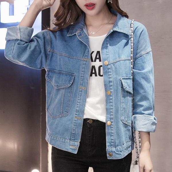 Vintage Long Sleeve Loose Coat Casual Girls Outwear Women Basic Coats and Women Denim Jacket