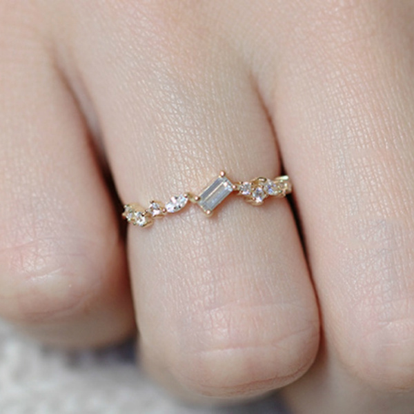 Women S Slim Dainty Gold Color Stacking Wedding Rings For Women