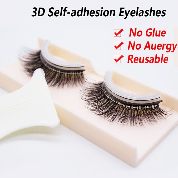 2184595be0f 2018 New Mink Self-adhesive False Eyelashes Natural Curly Thick Glue ...