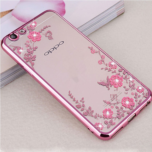 Rhinestones Case For OPPO A73 Case Silicone Glitter Flower Bling Diamond  Clear Back Cases For OPPO F5