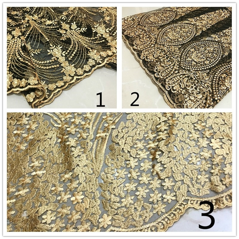 1m hell gold blumen bestickt stoff spitze netz stoff brautkleid vintage diy neu ebay. Black Bedroom Furniture Sets. Home Design Ideas
