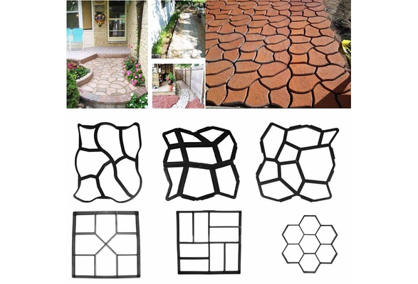 DIY Black Hexagon Driveway Paving Pavement Stone Mold Concrete Stepping Pathmate Mould Paver