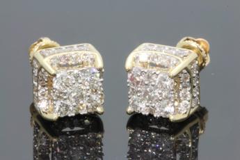 Silver Jewelry, DIAMOND, gold, ear studs