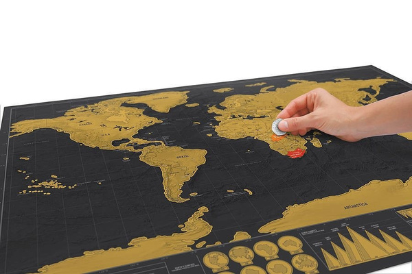 1pcs Deluxe Erase Black World Map Scratch off World Map Travel Map Wall Stickers