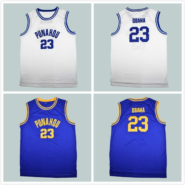 the best attitude 4d8de be606 Barack Obama 23 Punahou High Basketball Jersey Commemorative Edition Blue  S-3XL Cheap Throwback Jerseys Sleeveless Breathable