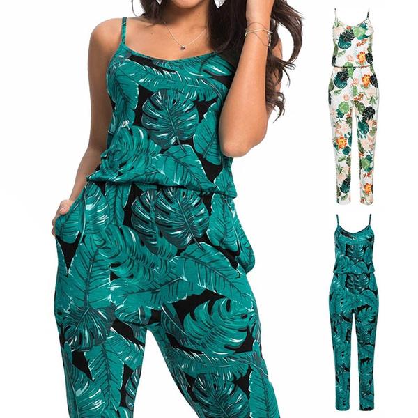 Conception innovante design de qualité codes promo 2018 New Beach Casual Women Jumpsuit Strap Rompers Combinaison Femme  Combinaison Pantalon Femme Elegante