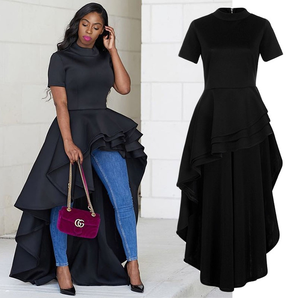 Women Short Sleeve High Low Peplum Dress Bodycon Party Club Dress Casual  Turtleneck Plus Size Dress