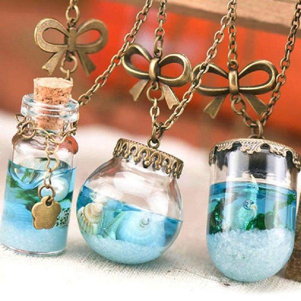 bab8c7312501 Hot Sale Women Cute Vial Ocean Glass Pendant Miniature Paper Boat Bottle  Necklace Jewelry Chain