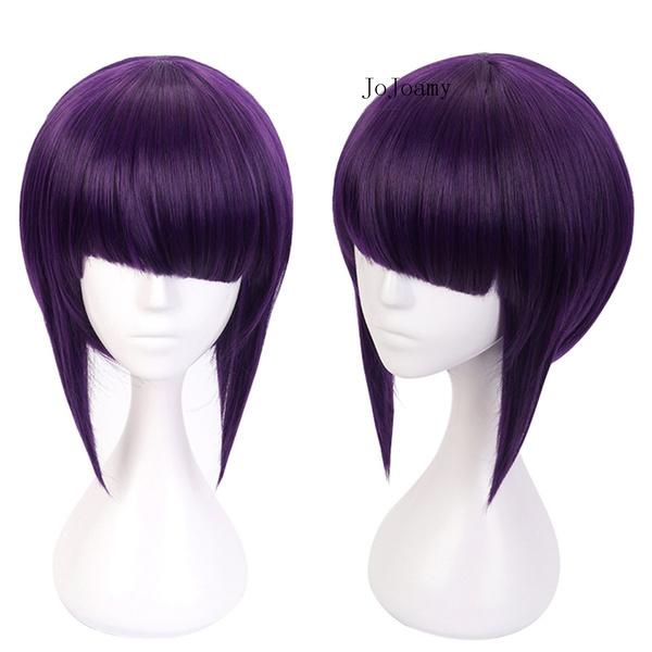 Jojoamy Cosplay Wigs For Kyoka Jiro Boku No Hero Academy Short Purple Lovely Girl Back To School Party Wig