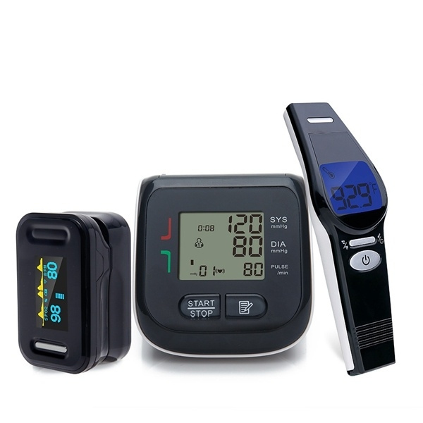 Yongrow YK-BPW210681 Digital Wrist Blood Pressure Monitor and Infrared  Forehead Thermometer for Adult Baby Non-contact and Digital Fingertip Pulse