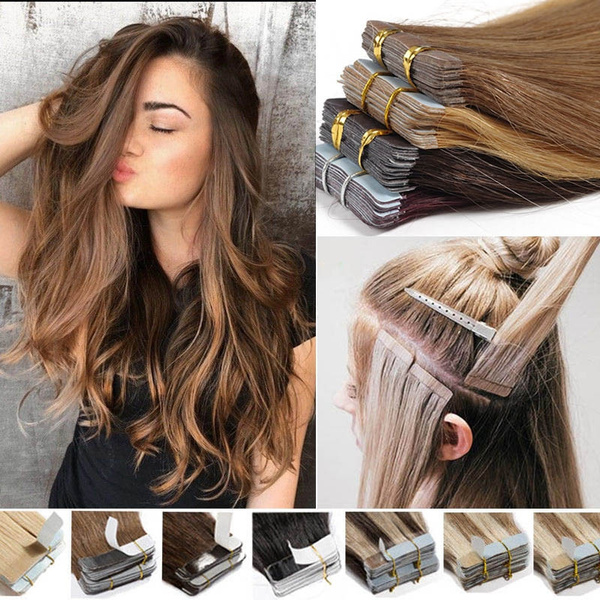 New Fashion Tape In Hair Extension Black Brown Blonde Silky Long Straight  Styling Human Hair Extensions | Geek