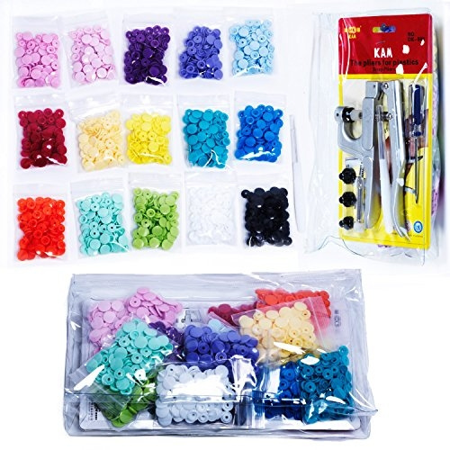 300 KAM SNAPS 15-Color Kit: KAM SNAPS and SNAP Setter Press Pliers for  Plastic SNAPS No-Sew Buttons Fastener Setter Hand Tool for Cloth Diapers