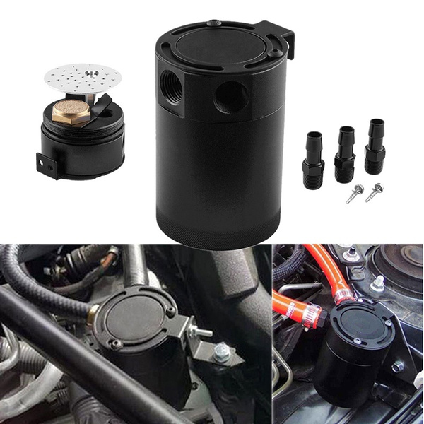 Racing Baffled Aluminum 3-Port Oil Catch Can Tank Reservoir Air-Oil Separator