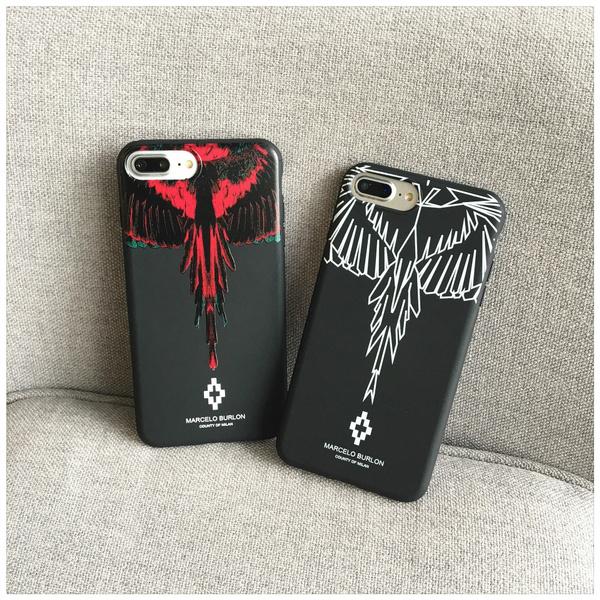design distinctif très loué Excellente qualité Marcelo Burlon Scrub Phone Case for IPhone 6S 6 Plus 6splus 7 7plu Feather  Wings Phone Cover