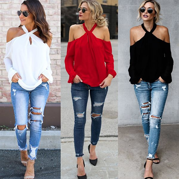 453cc693 Fashion Women Sexy Halter Neck Off Shoulder Tops Lady Strapless ...