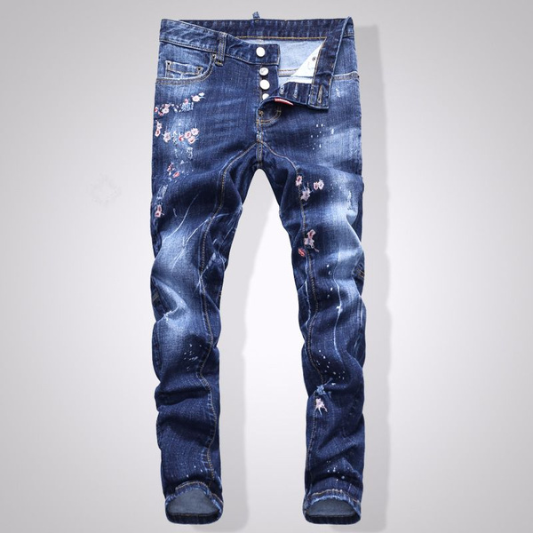 precio competitivo 29ebd 8bfd0 Dsquared Jeans Men's Fun Monster Graffiti Painting Slim D2 Jeans