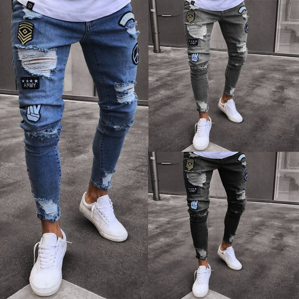 c062c3ee55d4 2018 New Men's Stretchy Ripped Jeans Cartoon Patch Skinny Biker ...