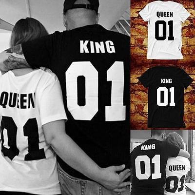 d93d9e16fb Fashion Valentine Shirts Woman Cotton King Queen 01 Funny Letter ...
