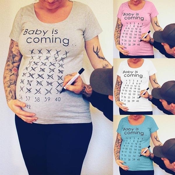 72aa0ed6efc96 Summer Funny Cute Soft Maternity Short Sleeves Shirt Pregnancy T ...