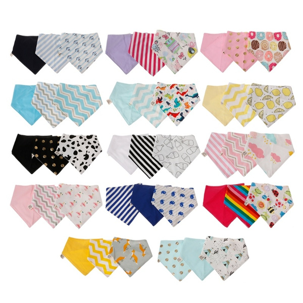 3 Pcs//set Baby Bibs Infant Cotton Bandana Bibs Babador Saliva Kids Towel Scarf