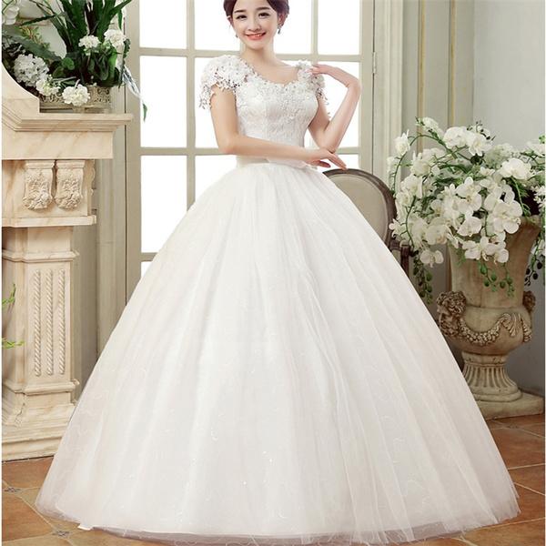 Wish Plus Size Off Shoulder White Color Embroidered Bride Dress
