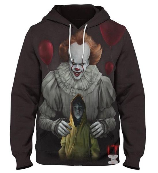 NEW 3D It Sweatshirt Hoodie Movie Print Stephen King Pennywise Clown Men Women