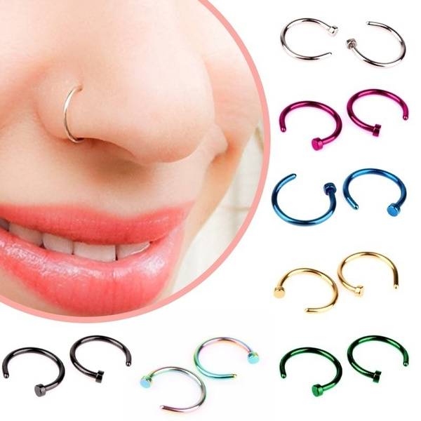 Surgical Steel Thin Small Silver Nose Ring Hoop 8mm 10mm Cartilage