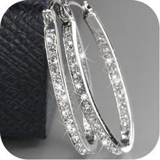 Hoop Earring, Gemstone Earrings, gold, Crystal