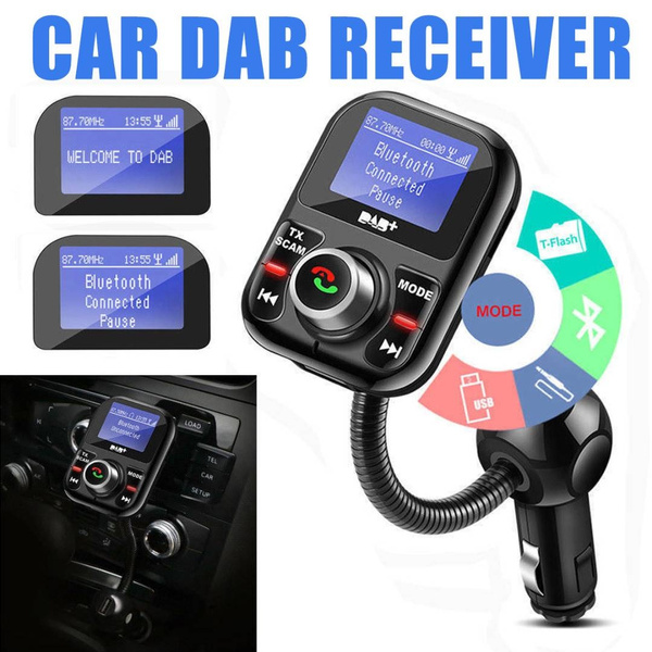 LCD Screen Car DAB+Radio Receiver Adapter Bluetooth Transmitter USB ChargerSW