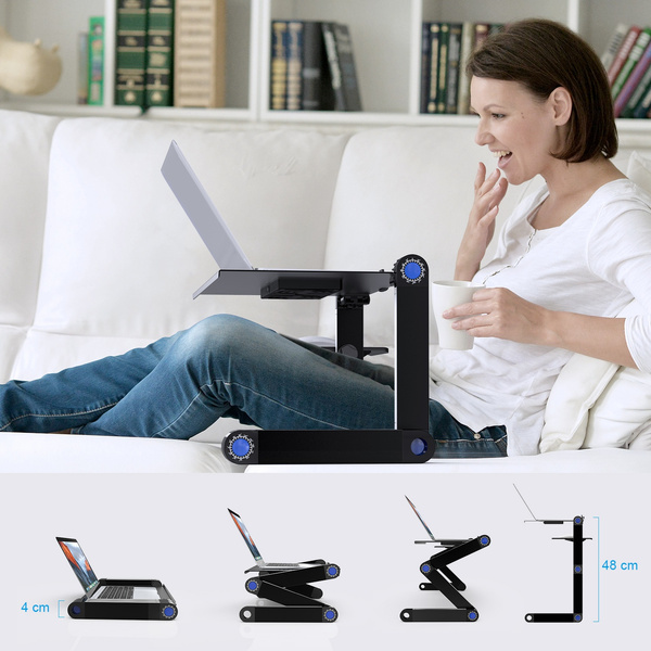 Adjustable Folding Portable Stand Desk Ventilated Aluminum Laptop Riser Tablet