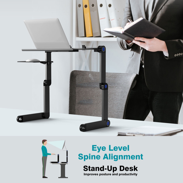 Adjustable Laptop Portable Standing Desk Detachable Mouse Tray With Cooling Fan