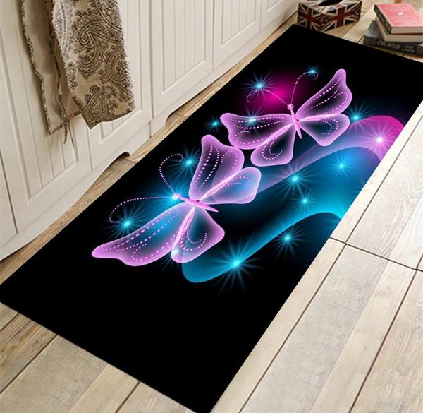 Erfly Rugs Runner Rug Non Slip Absorbent Hallway Entry Area For Living Room Bedroom And Kitchen Color Dark Blue Black Purple Light
