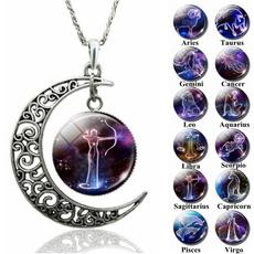 zodiacnecklace, zodiacpendant, zodiacsignsnecklace, Glass