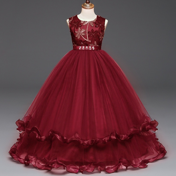 540ba462c528 Princess Long Girls Pageant Dresses Kids Prom Puffy Tulle Ball Gown ...