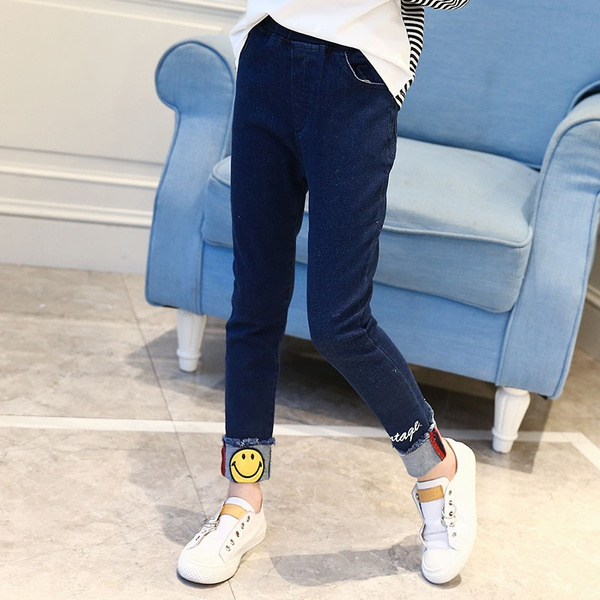 f2f7bde381 Children Denim Jeans Kids Smiley Face Embroidered Thin Trousers Dark ...