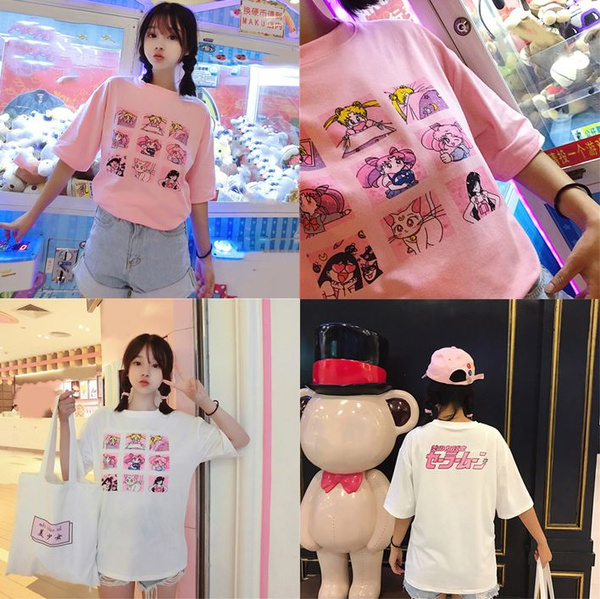 f3dc8573ecbbc2 Kawaii T Shirt Summer Women Tops 2018 Harajuku T-shirts Print Sailor ...