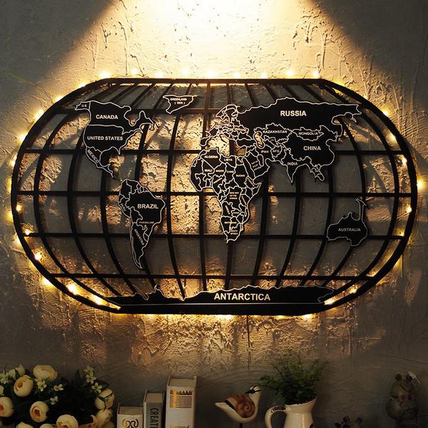 World Map Black Iron Rack Art Wall