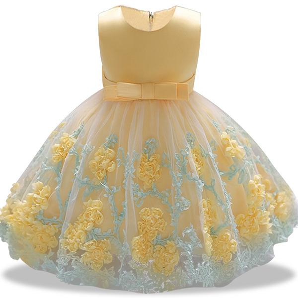 020e20e048b1 Baby Girl Princess Ball Gown Dress Flower Lace Children Bridemaid ...