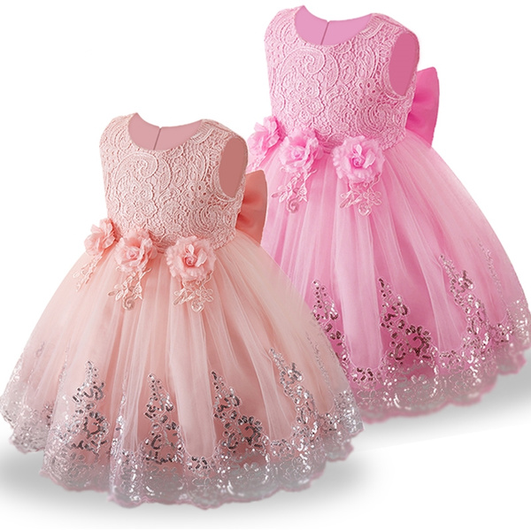 6e83d508d111 Baby Girl Floral Lace Sequin Dress Toddler Girl Christening Clothes ...
