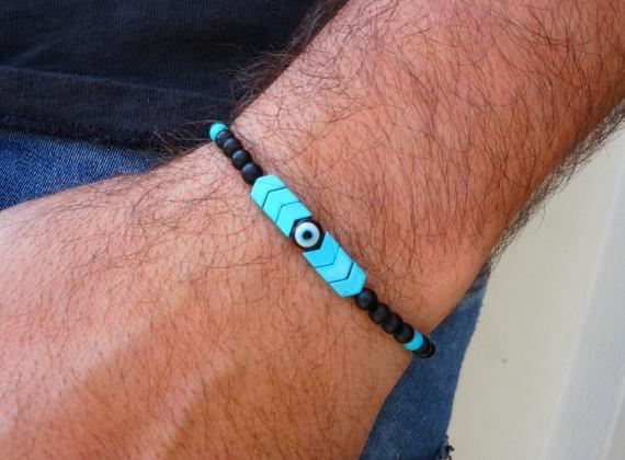 Wish Evil Eye Bracelet Mens Bracelet Arrow Bracelet