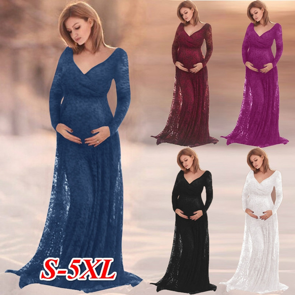 ca07c9d1c6 New Fashion Women Lace Baby Shower Maternity Gown Photography Prop ...