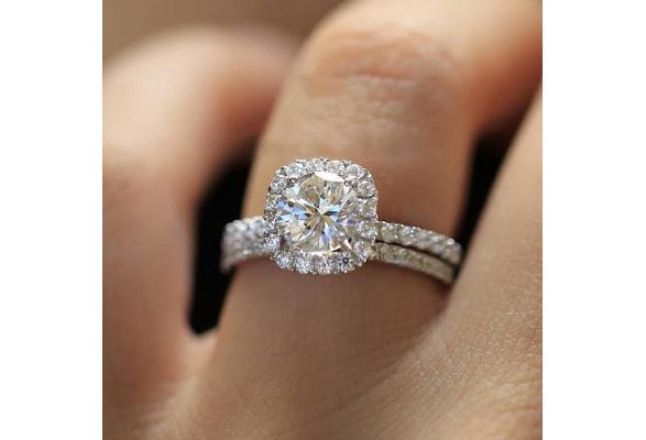 1.20 Ctw Round Lab Created Simulated Diamond Halo Engagement Ring Set, Silver Bridal Wedding Band Rings Jewelery