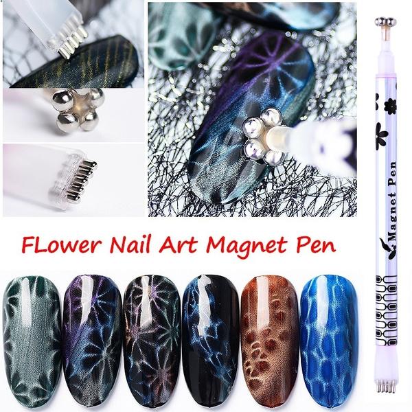Wish | 1 Pc Nail Art Dual-ended Cat Eye Magnet Pen Flower Stripe ...