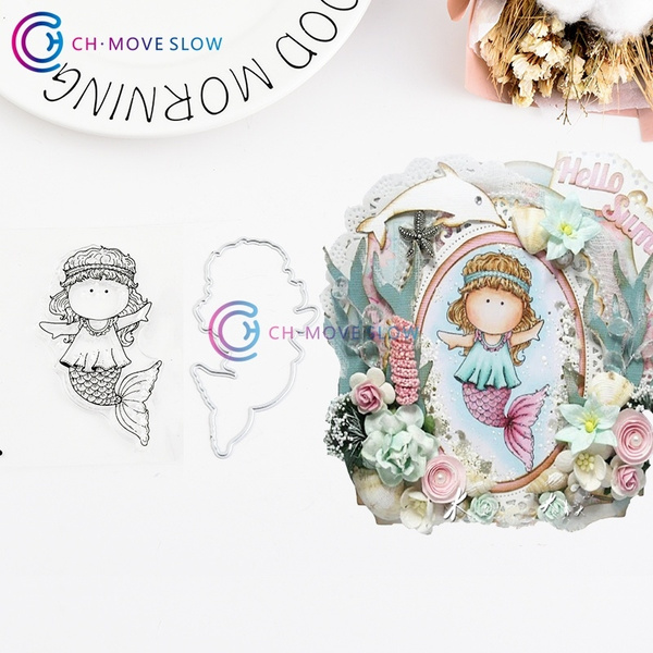 BE A MERMAID Metal Cutting Dies and Stamps Stencils for DIY Scrapbooking Decorat