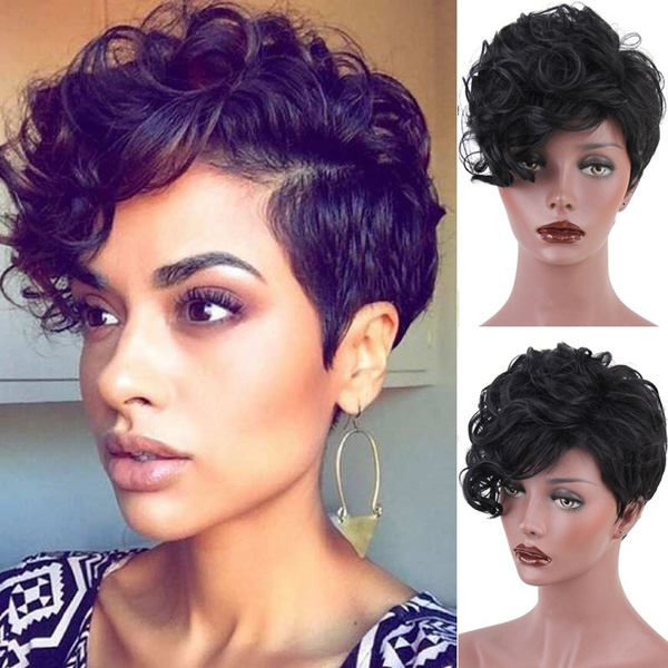 Short Curly Wig For White Women Black Synthetic Wig Curly Wavy Heat Resistant Full Hair Wigs With Free Wig Cap Color Black