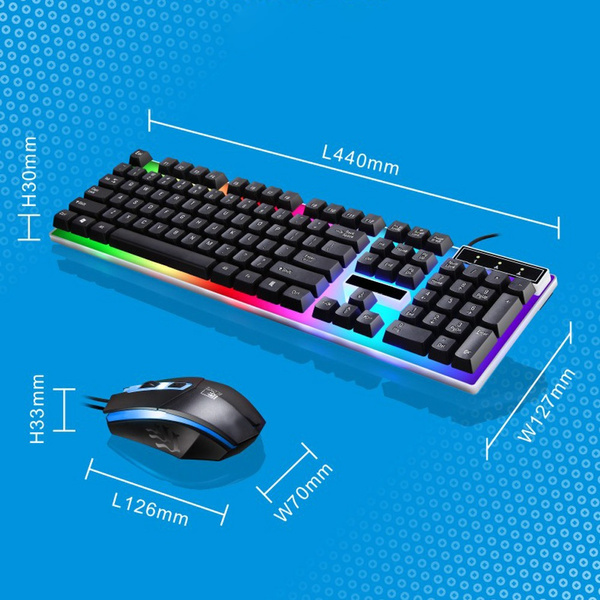 Colorf LED Rainbow Backlight Adjustable Gaming Game USB Wired Keyboard Mouse Set