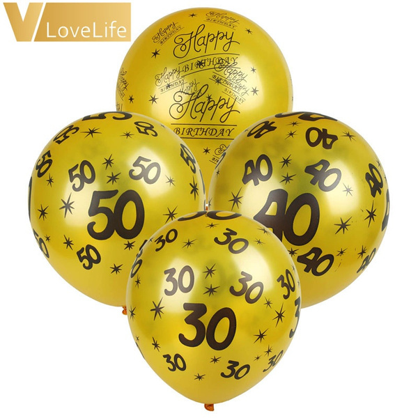 10pcs 12inch Gold Black 30th 40th 50th Happy Birthday Balloons Decoration Wedding Anniversary Balloon Black Party Supplies