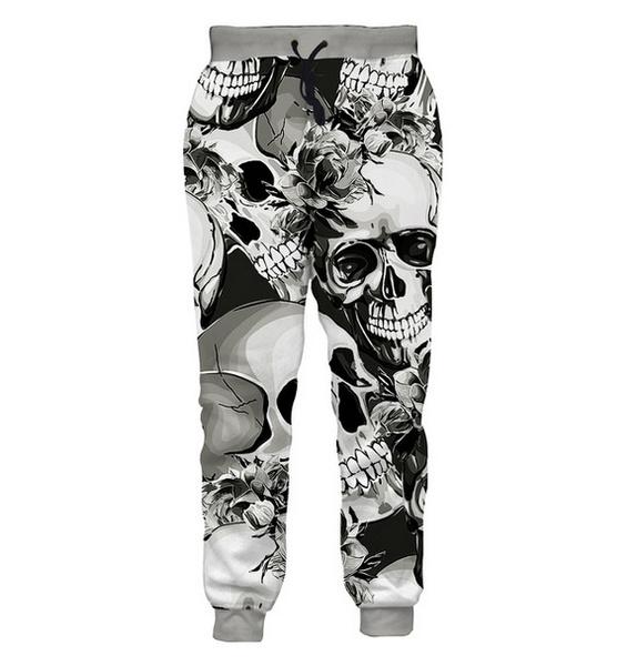 New Fashion Womens//Men/'s Skull 3D Print Casual Trousers Pants Sweatpants